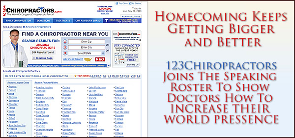 Homecoming Keeps Getting Bigger and Better as 123Chiropractors Now Join The Speaking Roster To Show Doctors How To INCREASE THEIR WORLD PRESSENCE